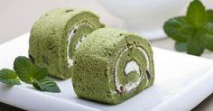 Recette de Roulés légers au thé vert Matcha et crème vanillée. Facile et rapide à réaliser, goûteuse et diététique.