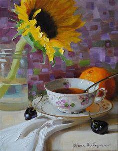 """Tuesday Tea"" - Original Fine Art for Sale - © Elena Katsyura - going to attempt sunflowers this week too"