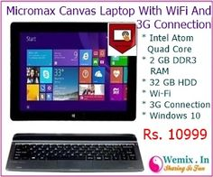 Micromax Canvas Laptop With Wifi And 3G Connection Rs 10999