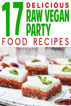All the best tasty raw vegan party food recipes for a lunch or dinner providing incredible health benefits and detox.  Your guest will be blown away and full of energy. These easy raw food meals provide a healthy diet for incredible health benefits including weight loss.  Includes salad, bread, cake, bars, fruit, noodles, snacks, sauces, burger, pizza, cheesecake, dressing, chocolate, sauce, crackers, chips, dips, pasta Click the link to read more... #greenthickies #rawvegan