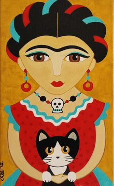 """""""Frida Kahlo in Red Dress with Cat"""""""