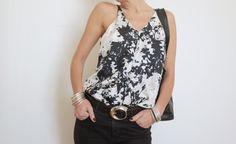 Silk Top Summer Shoulder Top Black and White Top by atelierPop