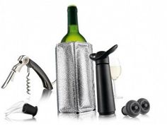 The Vacu Vin Wine Essentials Gift Set is a one-stop shop for all your wine needs: a wine server, corkscrew, vacuum pump, two bottle stoppers,. Cocktail Shaker, Tire Bouchon Sommelier, Conservation, White Wine, Red Wine, Beverage Tub, Wine Bucket, Stainless Steel Bar, Expensive Wine