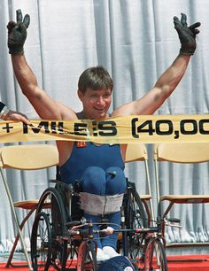 Rick Hansen (b. 26 August 1957) is a Canadian Paralympian and activist for people with spinal cord injuries. Hansen is most famous for his two-year Man In Motion World Tour that raised massive awareness and $26 million to benefit spinal cord research (1987). During the 2010 Vancouver Winter Olympics, he brought the flame into the stadium to light a torch.