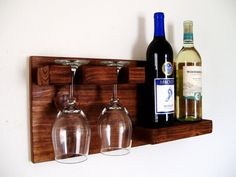 READY TO SHIP Wood Wine Rack Wine Bottle Wine Glass Wine Shelf Dark Walnut Brown or Natural (no color)