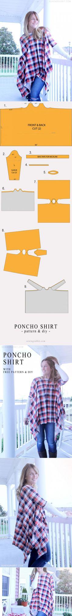 Выкройка пончо из рубашечной ткани (Diy) / Простые выкройки / ВТОРАЯ УЛИЦА