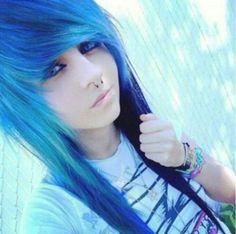 Pretty Blue Scene Hair... I want my bangs to look like this....