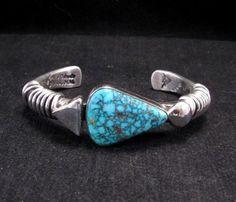Navajo Orville Tsinnie Kingman Web Turquoise Silver Wrap Bracelet, Large