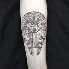 Millennium Falcon tattoo on the inner forearm. Tattoo artist:...