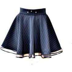 Black circle skirt, Vampire skirt, Black gothic skirt, Skater skirt,... ($38) ❤ liked on Polyvore featuring skirts, high-low skirt, flared skater skirt, embellished skirt, skater skirts and striped skirt