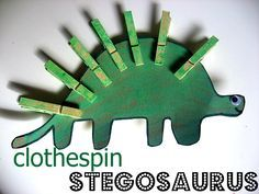 Clothespin Stegosaurus - Here is one for dinosaur lovers.  Draw a dinosaur, have your child paint or color it, cut it out, then put on eye and mouth.  Have fun counting and pinching the clothes pins onto the dinosaur, the pinching is great fine motor practice for your little ones too! Perfect craft for little guys or girls