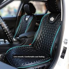 Leather car seat cover crown rivets auto interior seat cushion accessories black universal size front seats covers car styling color name black Back Seat Covers, Car Covers, Auto Cover, Car Interior Upholstery, Car Interiors, Leather Car Seat Covers, White Leather Dining Chairs, Toy Cars For Kids, Cars