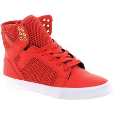 Supra Skytop Red High Top Sneakers (790 CNY) found on Polyvore high-top sneakers高帮SNEAKERs20130316