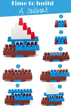 A step-by-step guide to create a sailboat out of Mega Bloks! Add your little touch by using different block colors :) Kids Learning Activities, Preschool Activities, Mega Blocks, Lego Projects, Toddler Play, Lego Instructions, Lego Duplo, Business For Kids, Legos