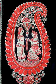 Baluchari Saris - Close up of a motif (panel) from the pallav depicting the exchange of garland at the wedding. The bride holds the garland out for the groom.