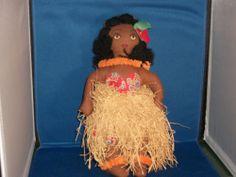 "Vintage 1940s Handmade Cloth Folk Art Hawaiian Hula Doll 10"" Tourist Souvenir"