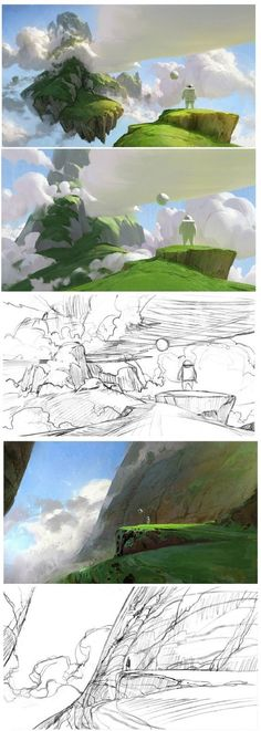 Concept Art Environment Design Color Palette Visual Development Digital Painting… – Apocalypse Now And Then Concept Art Tutorial, Digital Art Tutorial, Digital Painting Tutorials, Art Tutorials, Digital Paintings, Landscape Concept, Landscape Art, Landscape Paintings, Landscape Design