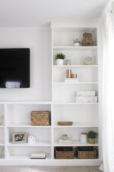 Complete a wall of built-ins on a budget by turning a set of IKEA Billy bookcases into a DIY set of built -ins. This is an IKEA hack you will want to see. Billy Bookcase Hack, Built In Bookcase, Billy Bookcases, Shelves Built Into Wall, Ikea Bookshelf Hack, Ikea Living Room, Ikea Bedroom, Lego Bedroom, Childs Bedroom