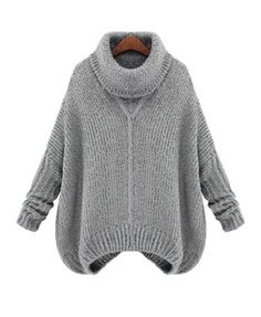 Gray Oversized Knit Jumper with Rolled Neck Collar