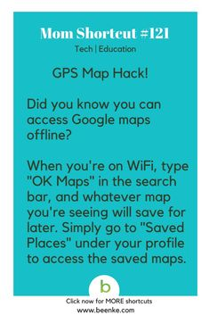 Tech and Education Shortcuts #121: GPS Map Hack. Get your daily source of awesome life hacks and parenting tips! CLICK NOW to discover more Mom Hacks. #beenke #MomShortcuts #MomHacks #ParentingHacks