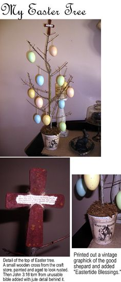 I made this easy Easter tree out of a branch, craft store eggs and cross, bible verse and vintage graphic.