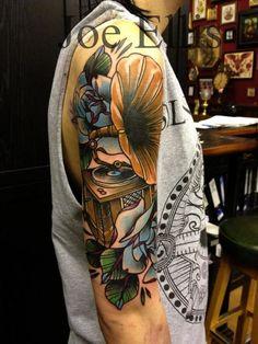 Tattoo by Joe Ellis Tattoos Musik, Music Tattoos, Love Tattoos, Tribal Tattoos, Tatoos, Gramophone Tattoo, Skin Candy, Just Ink, Intricate Tattoo