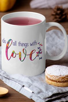 Beautiful colors, flying butterflies - this inspirational coffee mug is the perfect way to start your day! It also makes a great gift... given with love. Love Is All, Peace And Love, Tea Mugs, Coffee Mugs, Cuppa Tea, Inspirational Quotes Pictures, Plant Based Eating, We Are The World, Beautiful Butterflies