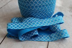 Fold Over Elastic - Craft Supplies by Couture Craft Supply - Blue Quatrefoil Fold Over Elastic - 5/8 inch FOE