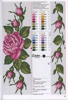 Really nice Cross-Stitch towel flowers patterns. Cross Stitch Bookmarks, Cross Stitch Borders, Cross Stitch Rose, Cross Stitch Flowers, Cross Stitch Charts, Cross Stitch Designs, Cross Stitching, Cross Stitch Embroidery, Embroidery Patterns