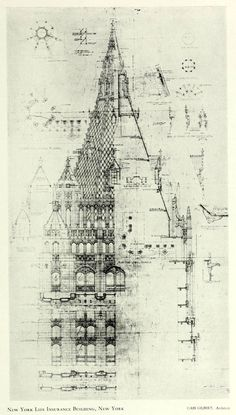 Rendering of the spire of the New York Life Insurance Building, New York City