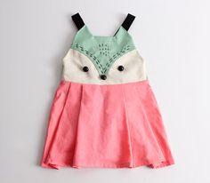 Patron de couture pdf de Kid / / jupe à bretelles / jupe de cavalier / jupe globale de tout-petits enfants / Tout en un avec le visage de renard, tailles 2T à 7 ans.