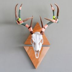 if my husband hunted and hung the head of an animal on our wall... yes, I would paint the antlers a funky color!