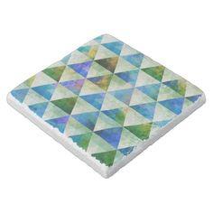 Modern Blue & Green Geometric Triangle Design Stone Coaster