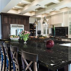 Black granite countertops add value, functionality, powerful performance and beauty to your home. Black Granite Kitchen, Black Granite Countertops, Kitchen Countertops, Types Of Granite, Kitchen And Bath Showroom, Luxury Kitchens, White Cabinets, Kitchen Designs