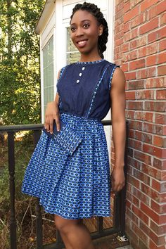 Looking for that simple yet elegant dress for an everyday look. Our Afia African print denim dress is the perfect dress for any occasion. It is simple, yet classy. To make this look perfect and complete, you can also add o. African Print Skirt, African Print Dresses, African Dress, Denim Midi Dress, Blue Midi Dress, Seshoeshoe Dresses, Blue Dresses, African Women, African Fashion