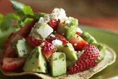 This recipe for strawberry and avocado tostadas is a good starter recipe for those looking to experiment with new ways to enjoy strawberries. You might also be pleasantly surprised at how delicious strawberries can be when added to savoury dishes Healthy Snacks, Healthy Eating, Healthy Recipes, Eating Clean, Healthy Options, Veggie Recipes, Cilantro, Great Recipes, Favorite Recipes