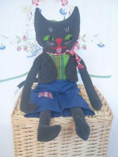 Handmade Fun Vintage style Big Cat Rag Doll blue by FloraFinadolls, $38.00