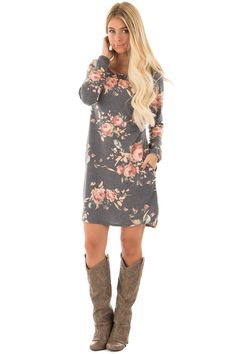 Lime Lush Boutique - Charcoal Floral Print French Terry Tunic Dress with Side Pockets , $38.99 (https://www.limelush.com/charcoal-floral-print-french-terry-tunic-dress-with-side-pockets/)