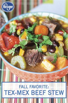 This Tex-Mex Beef Stew is a fall favorite dish that's perfect for tailgates and game day parties. You can even make this soup in a slow cooker for a tasty weeknight dinner idea. Use beef, celery, jalapeno, corn, carrots, onion, beans, tomatoes, cumin, and oregano to create this savory dish. Click here to see the full delicious recipe from Inspired Gathering.