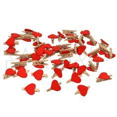 Klamerki spinacze CZERWONE SERDUSZKA. Mini urocze spinacze, na przyjęcie, praty, ślub wesele, na każdą okazję, ozdoby do kwiatów i kwiaciarni. Dekoracje na stół, wystrój wnętrza. Klipsy drewniane z serduszkami, walentynki. Inspiracje na wesele. ślub. pakoria.pl Wedding inspirations. Valentines day.
