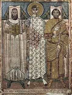 Meister der Demetrius-Kirche in Saloniki 002 - Byzantine art - Wikipedia Mosaic from the church of Hagios Demetrios in Thessaloniki, late or early century, showing St. Demetrios with the bishop and the eparch Early Christian, Christian Art, Ancient History, Art History, Arte Latina, Art Romain, Tapestry Of Grace, Early Middle Ages, Byzantine Art