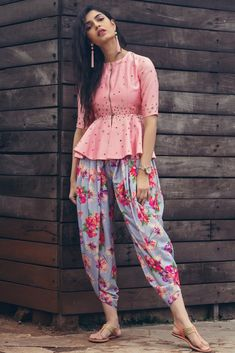 Floral Dotti Pant with Baby Pink Peplum