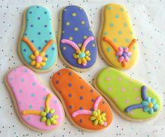 FLIP FLOP Cookie Favors  Flip Flop Decorated Cookies by lorisplace