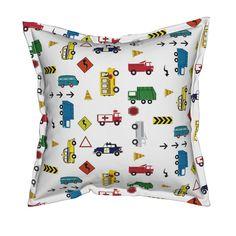 Serama Throw Pillow featuring cars & trucks  multi-metro by drapestudio | Roostery Home Decor