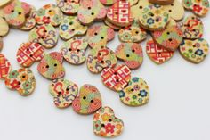 10 Mixed Pattern Heart Shaped Sew Through by boysenberryaccessory