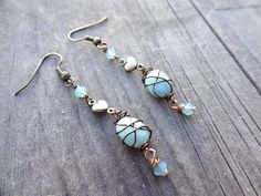 Bronze Blue Amazonite Crystal Dangle Heart Love Bead by LuvAlisa, $18.00