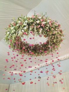 How beautiful would this be, hanging over the top table, maybe over the bridal couple. Beautiful.