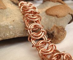 Copper Chain Maille Bracelet Helm Variation by cutterstone on Etsy, $39.00