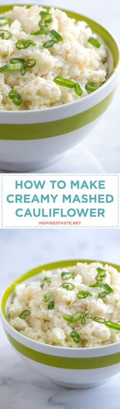Our mashed cauliflower recipe is light, fluffy, creamy and rich all in the same bite. It's easy, too — in fact, it's easier than mashed potatoes. No peeling! Recipe on inspiredtaste.net   @inspiredtaste