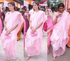 shweta-bachchan-ashtami-durga-puja-pink-sari
